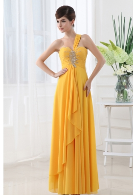 Empire Gold One Shoulder Beading and Ruching Chiffon Prom Dress