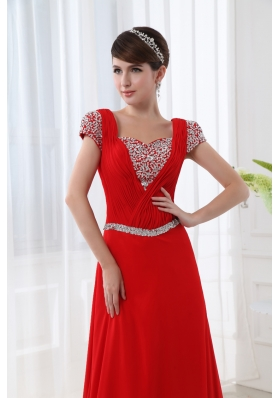 Empire Red Floor-length Square Beading and Ruching Cap Sleeves Prom Dress