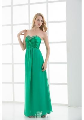 Empire Turquoise Sweetheart Floor-length Beading Prom Dress