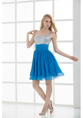 A-line Straps Sleeveless Beading and Ruching  Prom Dress