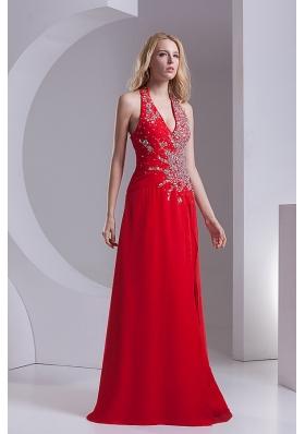 Column Halter Top Chiffon Beading Ruching Red Prom Dress