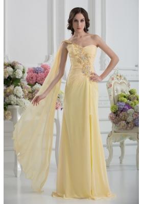 Bowknot Sweetheart Empire Watteau Train Prom Dress in Gold