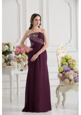 Dark Purple Column Strapless Floor-length Ruching Beading Prom Dress