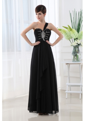 Empire Beading Chiffon Black One Shoulder Prom Dress