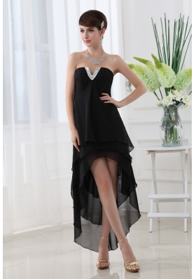 Empire Black Prom Dress with Strapless Ruffled Layers High-low Chiffon