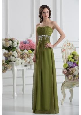 Empire Strapless Chiffon Beading Ruching Olive Green Prom Dress