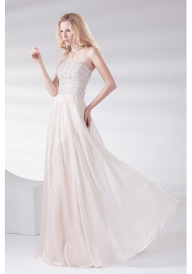 Empire Strapless Sleeveless Beading and Ruching Lace-up Champagne Prom Dress