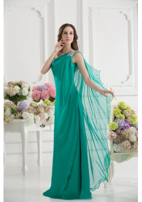 Green Empire One Shoulder Beading Watteau Train Ruching Prom Dress