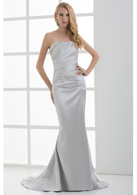 Mermaid Strapless Beading and Ruching Brush Train White Prom Dress