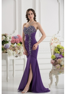 Mermaid Sweetheart Chiffon Beading Ruching Purple Prom Dress