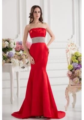 Red Mermaid Strapless Court Train Belt and Ruching Prom Dress