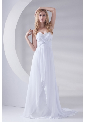 White Sweetheart Appliques Prom Dress with Brush Train 2014