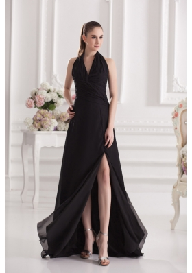 A-line Halter Top Floor-length Chiffon Black High Slit Prom Dress