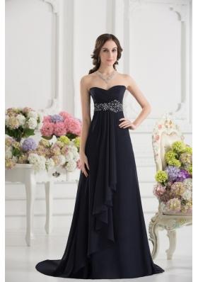 A-line Sweetheart Chiffon Beading Ruching Black Prom Dress