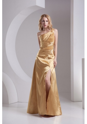 Column One Shoulder High Slit Beading Ruching Taffeta Prom Dress in Gold