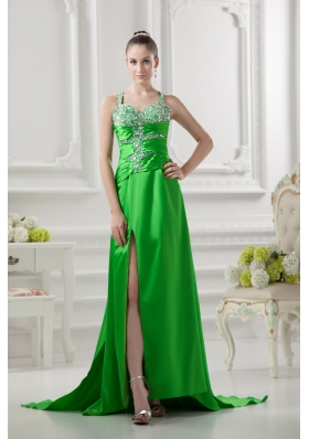 Column Straps Ruching and Beading High Slit Taffeta Prom Dress