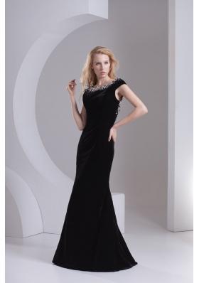 Empire Cap Sleeves Scoop Beading Floor-length Prom Dress