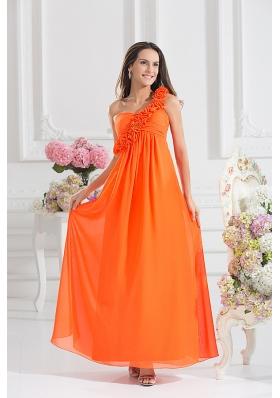 Empire Ruching Hand Make Flowers Orange Red Prom Dress