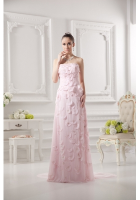 Empire Strapless Appliques Beading Chiffon Baby Pink Prom Dress