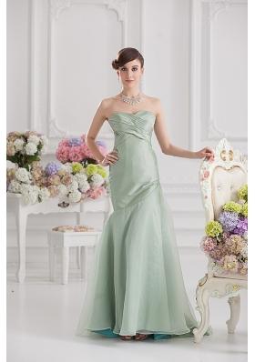Mermaid Lime Green Taffeta Long Prom Dress with Sweetheart