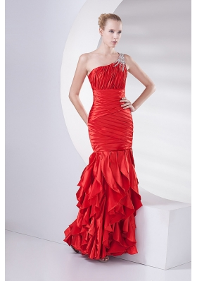 Mermaid Wine Red One Shoulder Beading Ruching Ruffles Long Prom Dress