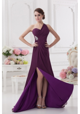 One Shoulder Empire Ruching and High Slit Backless Prom Dres