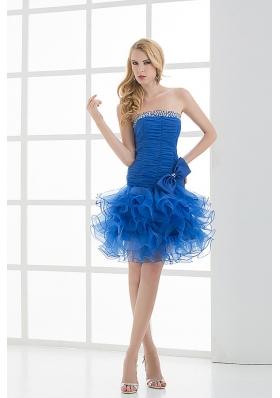 Short Strapless Beading and Ruching Ruffles Organza Prom Dress