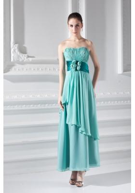 Strapless Ankel-length Empire Turquoise Hand-made Flower Prom Dress