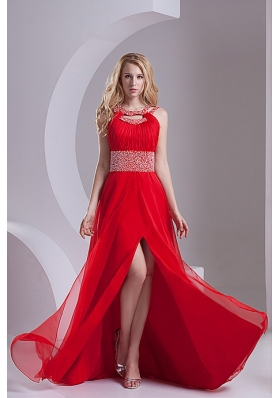A-line Scoop Chiffon Beading and Ruching Sweep Train Prom Dress