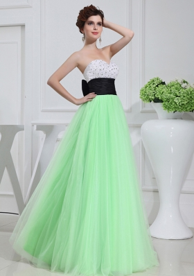 Apple Green Sweetheart Floor-length Sequins Apple Green Prom Dress
