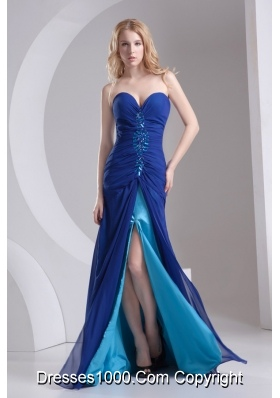 Column Blue Sweetheart Beading High Slit Chiffon Prom Dress