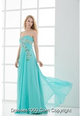Column Sweetheart Floor-length Applique Aqua Blue Prom Dress