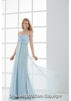 Column Sweetheart Floor-length Beading Light Blue Prom Dress