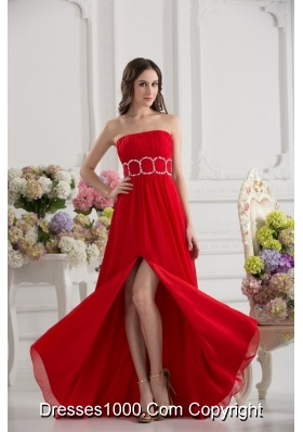 Empier Strapless Chiffon Beading Ruching High Slit Red Prom Dress
