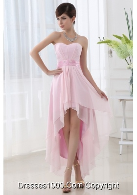 Empire Belt High-low Sweatheart High-low Baby Pink Dress Prom Dress
