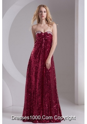 Empire Burgundy Sweetheart Beading Sequins Floor-length Prom Dress