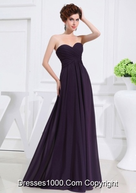 Empire Chiffon Ruching Strapless Dark purple Floor-length Prom Dress