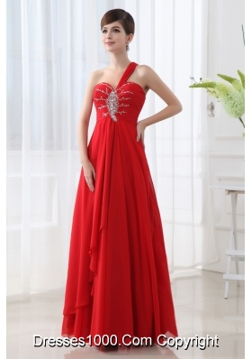 Empire One Shoulder Beading and Ruching Long Red Prom Dress