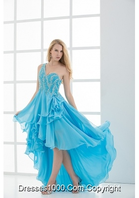 Empire One shoulder High-low Beading Baby Blue Prom Dress