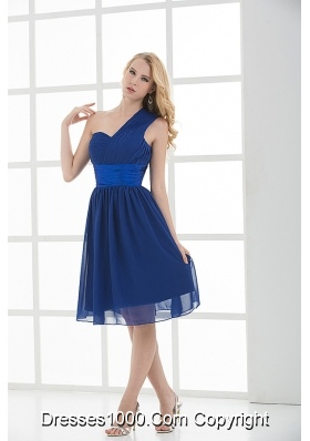 Empire One Shoulder Sleeveless Knee-length  Blue Prom Dress