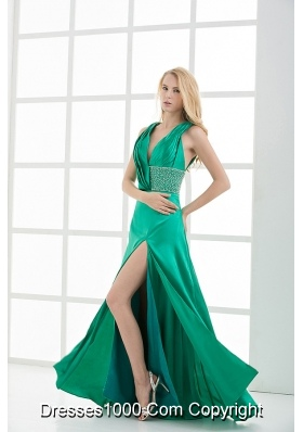 Empire V-neck Sleeveless Ruching High Slit Prom Dress