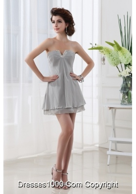 Grey Empire Strapless Mini-length Sleeveless Beadings Chiffon Prom Dress