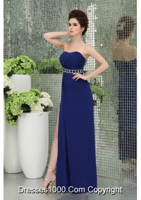 Spaghetti Straps Prom Dress with High Slit Ruchings Empire Blue Chiffon Belt