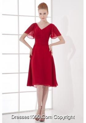Wine Red Empire Ruching V-neck Short Sleeves Prom Dress