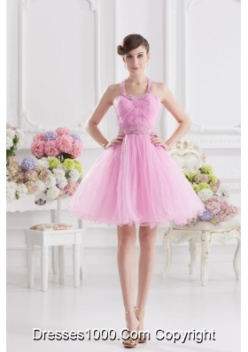 A-line Halter Top Pink Prom Dress with Ruching and Beading