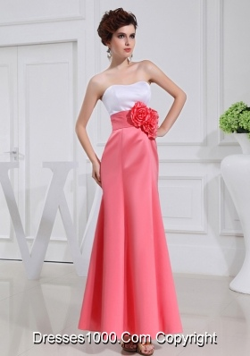 A-line Prom Dress with Hand Made Flowers Swaetheart Taffeta Watermelon