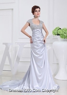 Column Square Court Train Appliques Beading Taffeta White Prom Dress