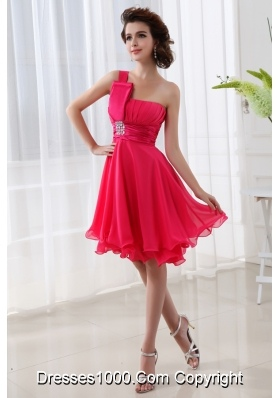 Coral Red A-line One Shoulder Chiffon Ruching Prom Dress