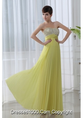 Empire Beading Sweetheart Beading Pleats Yellow Prom Dress