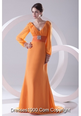 Empire Orange V-neck Long Sleeves Prom Dress with Beading Ruching